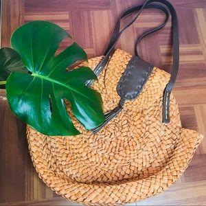 Tassel Rattan Straw Woven Circle Shoulder Bag
